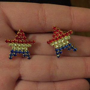 Clip on red patriotic star earrings